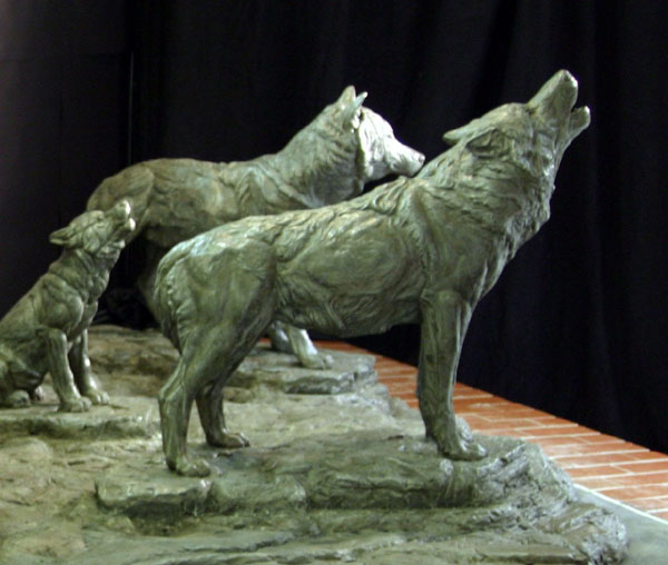 Cast Stone Wolf Pack Wildlife Sculpture